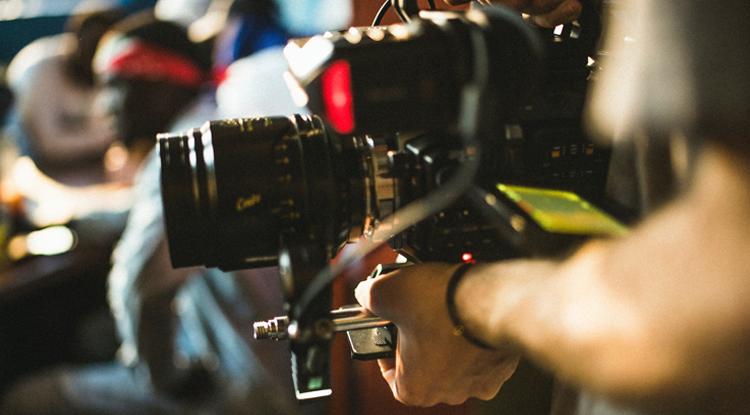 Close up of professional video camera