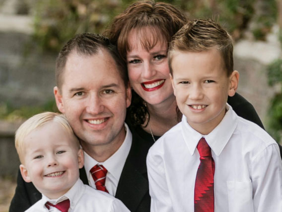 Alumna Christina Tenney with her family