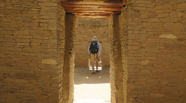 Student Exploring the Chaco Canyon