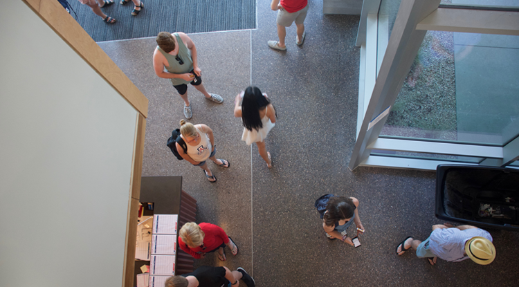 Ariel shot of Honors Village lobby