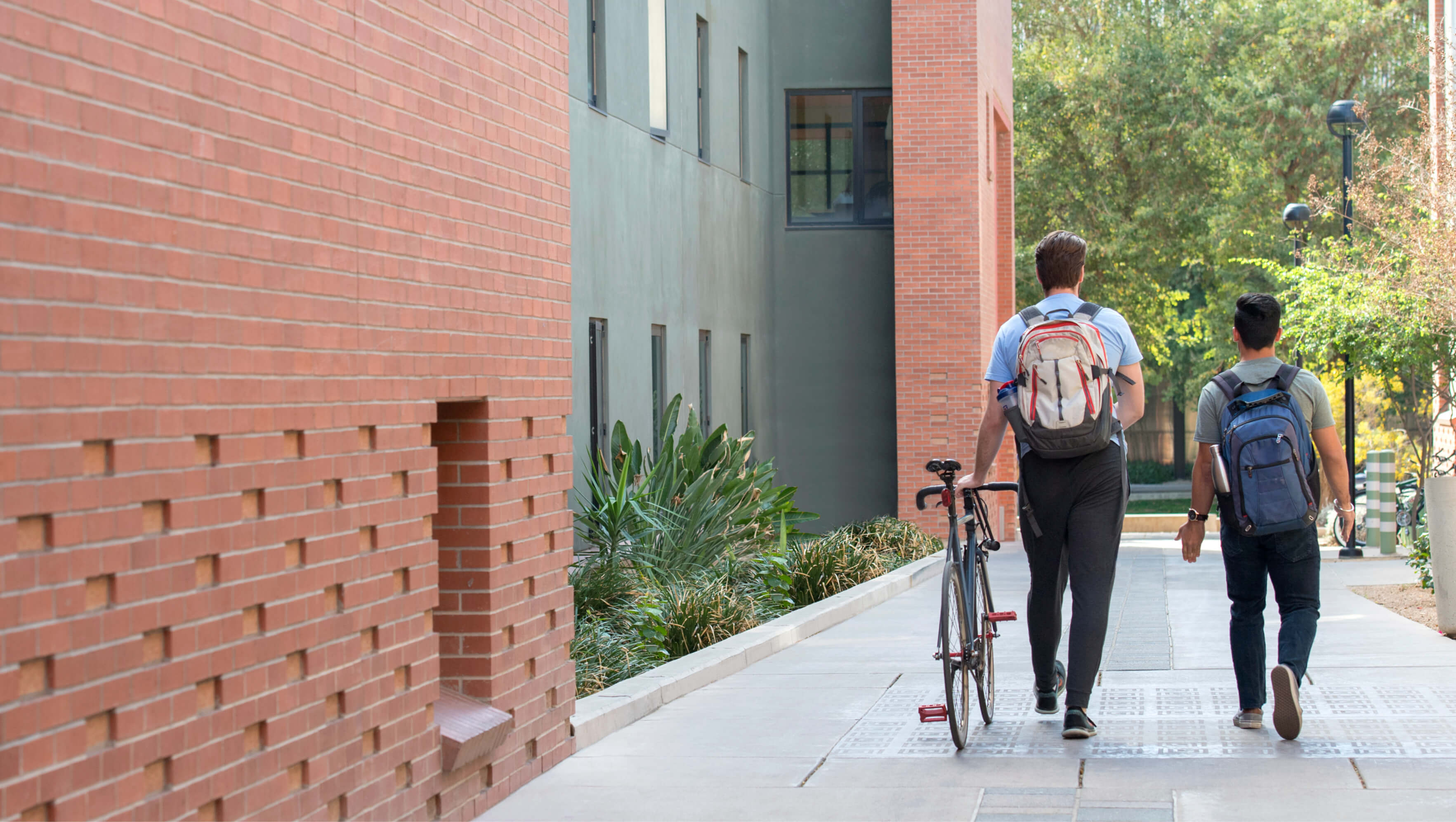 Students walking side by side on campus