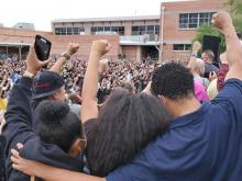 Students at peaceful protest
