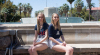 Jepson Sisters in front of Old Main Fountain