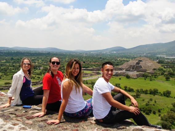 Students enjoying the scenery on their Abroad trip