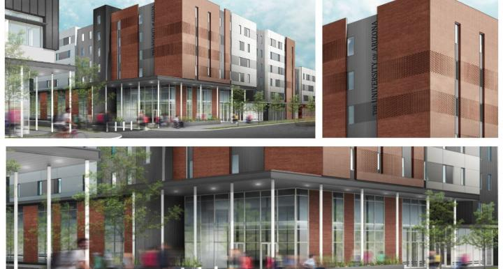 Composite renders of the Honors College village